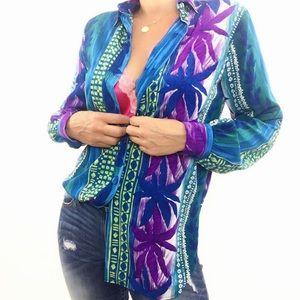 🏝Vintage Tropical Print Long Sleeve Blouse Purple